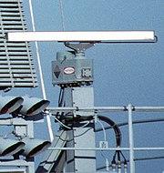 Radar antennas on USS Theodore Roosevelt SPS-64