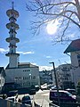 "Radio tower (""Telebygget"") in Borggata 10, Leirvik town, Stord Island, Norway 2018-03-13 a.jpg"