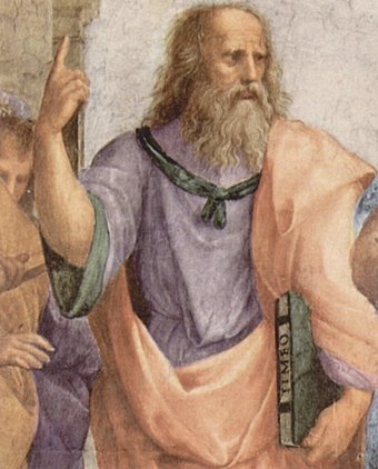 Plato is depicted in Raphael's The School of Athens anachronistically carrying a bound copy of Timaeus. Raffael 067.jpg