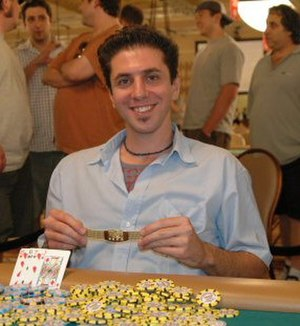 Rafi Amit - Amit shows his gold WSOP bracelet after his win in the 2005 World Series of Poker