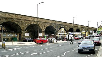 Leeds, Bradford and Halifax Junction Railway - Image: Railway Line over Road at Stanningley Bottom geograph.org.uk 443356