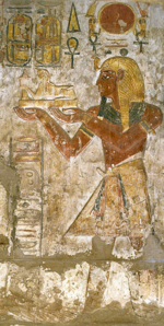 Relief from the Sanctuary of Khonsu Temple at Karnak depicting Ramesses III