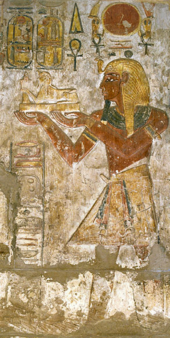 Relief from the sanctuary of the Temple of Khonsu at Karnak depicting Ramesses III