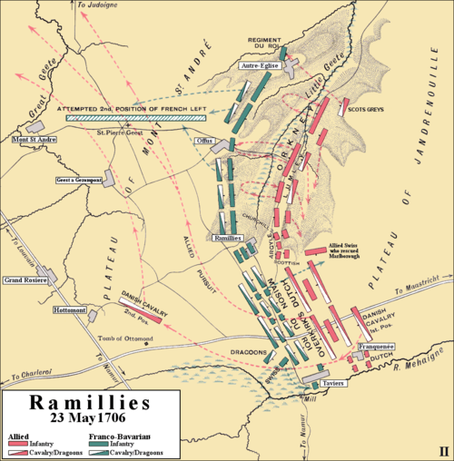 Allied squadrons transferred from north to south gave the Allies a 5-3 advantage on the plain where some 25,000 French and Allied cavalry were heavily engaged. Ramillies 1706, breakthrough and pursuit.PNG