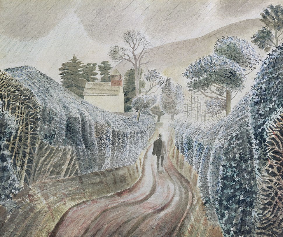 Ravilious - wet-afternoon-by-eric-ravilious-view-of-the-church-of-st-mary-capel-y-ffin-powys-c-1938