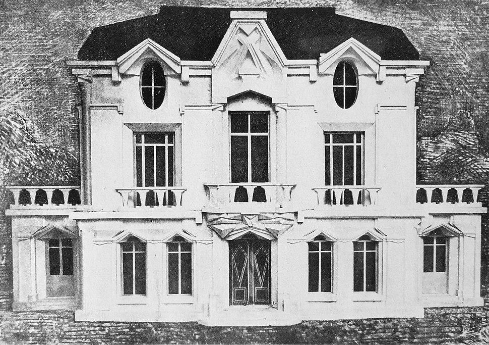 Raymond Duchamp-Villon, 1912, Projet d'hôtel, Maquette de la façade de la Maison Cubiste, published in Les Peintres Cubistes, 1913