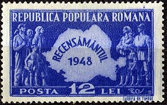 Demographic history of Romania - 1948 census on a stamp