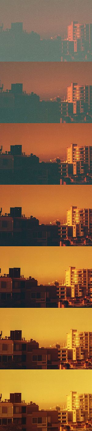 Redscale - Image: Redscale film landscape photograph at 7 different exposure settings