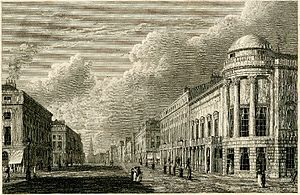 Argyll Rooms - Engraving of Regent Street in 1825, with the Argyll Rooms on the right. Print made by Charles Heath, after William Westall.