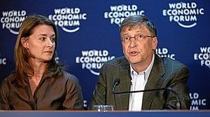 Neglected tropical disease research and development - Melinda and Bill Gates speak during press conference at the World Economic Forum in Davos, Switzerland, January 30, 2009.