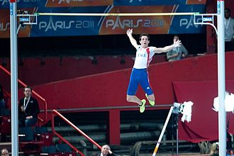 2011 European Athletics Indoor Championships - Renaud Lavillenie clears the bar at the Palais Omnisports