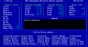 Renegade BBS Waiting for Caller (WFC) screen.png