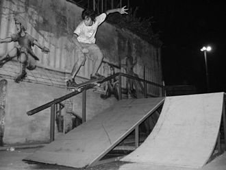 Grind (skateboarding) - Backside 50-50 by Jakarta Reno - Indonesia