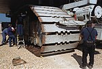 Repair work on NASA crawler-transporter track shoe (KSC-00PP-1629).jpg