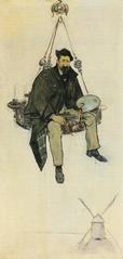 Retrat de Santiago Rusiñol sobre un llum