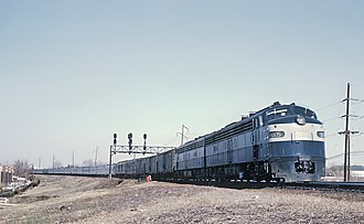 Silver Star (Amtrak train) - A Richmond, Fredericksburg and Potomac Railroad locomotive pulls the Silver Star at Alexandria, VA on March 23, 1969