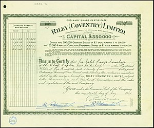 Riley Motor - Riley (Coventry) Limited share certificate issued 17 May 1937