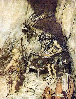 Orphan - Mime offers food to the young Siegfried, an orphan he is raising; Illustration by Arthur Rackham to Richard Wagner's Siegfried