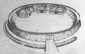 Circular rampart - Artist's impression of the circular rampart of Burg, near Celle, Germany