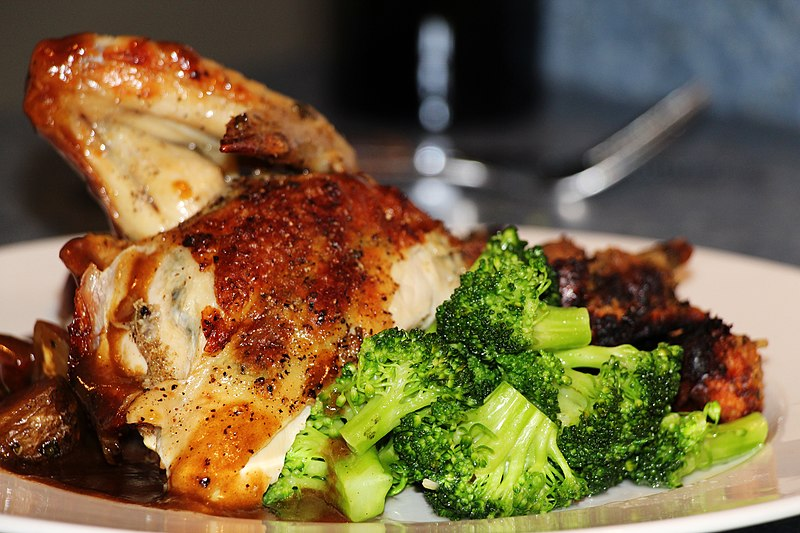 File:Roasted Chicken Dinner Plate, Broccoli, Demi Glace.jpg