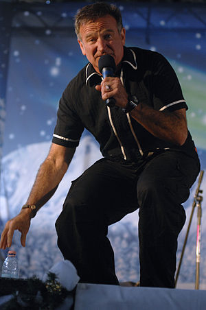 Robin Williams - Williams performing at a United Service Organizations holiday show held for the Aviano Air Base community on December 22, 2007