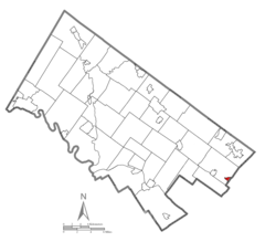Location of Rockledge in Montgomery County, Pennsylvania.