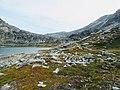 Rocks and eater near end of hike Lille Malene hike near Nuuk Greenland.jpg
