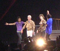 The Rolling Stones en Niza, Francia (2006). De cucha ta dreita: Ron Wood, Charlie Watts, Mick Jagger y Keith Richards.