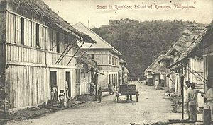 Romblon - The town of Romblon in the early 1900s, showing Fort San Andres in the background