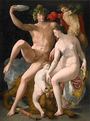 Rosso fiorentino (attr.), bacco, venere e marte.jpg