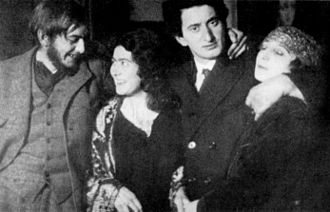 Dolores (artists' model) - Roy and Mary Campbell (left), Jacob Kramer and Dolores (right). 1920s.