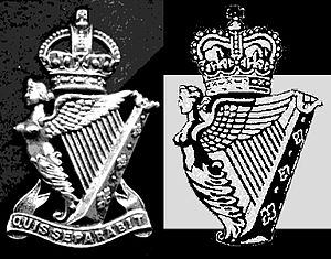"Quis separabit? - The Royal Ulster Rifles and Ulster Defence Regiment badges side-by-side, showing how the UDR badge was created by removing the ""Quis Separabit"" motto on the Royal Ulster Rifles badge"