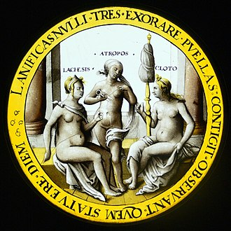 Moirai - The three fates, Lachesis, Atropos, and Cloto; by Hans Vischer ca 1530 AD. Kunstgewerbemuseum Berlin