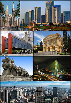 Photo montage ning lakanbalen ning São Paulo. Manibat king kayli papuntang wanan: São Paulo Cathedral; United Nations Business Center; São Paulo Museum of Art king Paulista Avenue; Museum of Ipiranga; Bandeiras Monument; Octávio Frias de Oliveira Bridge; ampo ing downtown skyline manibat king Altino Arantes Building.