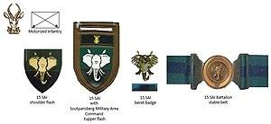 15 South African Infantry Battalion - SANDF early era 15 SAI insignia