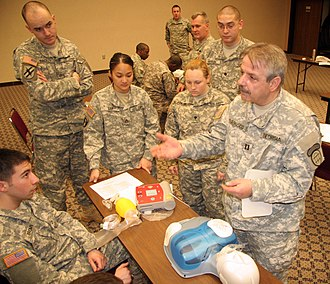 State defense force - Georgia State Defense Force members help recertify Georgia Army National Guard medics in CPR/AED.