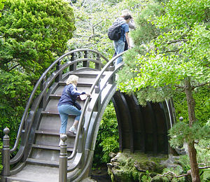 Japanese Tea Garden (San Francisco) - A decorative moon bridge in the Tea Garden