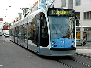 Trams in Ulm - SWU Siemens Combino tram in Ulm, 2006.
