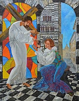 Sainte Catherine de Gênes peint par l'artiste Denys Savchenko.  Église Sainte-Catherine, Gênes, Italie.