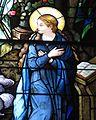 Saint Julie Billiart Catholic Church (Hamilton, Ohio) - stained glass, Annunciation, Mary detail.jpg