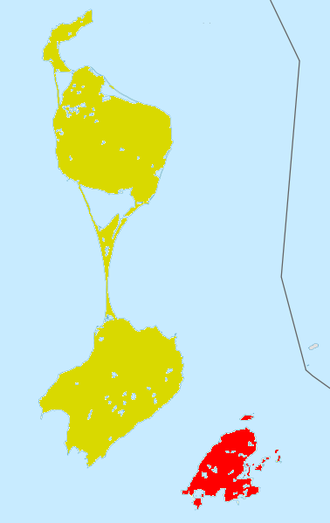 Saint Pierre Island - Saint Pierre Island and surrounding islands shown in red