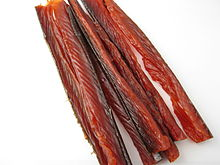 Strips of dried salmon meat.