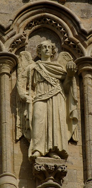 Statuary of the West Front of Salisbury Cathedral -  Standing Archangel in niche 8