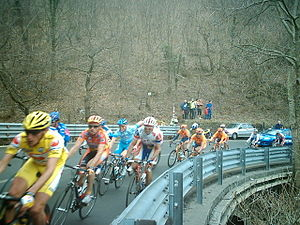 Passo del Turchino - Ciclists climbing the pass during Milano-Sanremo 2005 edition