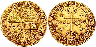 Henry VI of England - Salut d'or, depicting Henry as King of England and France, struck in Rouen