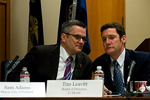 Sam Adams (Oregon politician) - Adams and C-Tran director Tim Leavitt at a meeting of the Columbia River Crossing Project