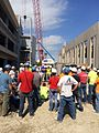Sampson Construction in Lincoln, NE hosted a safety stand-down with approximately 50-60 attendees, and included a drop demonstration by a falls equipment vendor. (14403708991).jpg