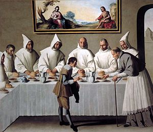 Carthusians - Painting from the Carthusian cloister of Nuestra Señora de las Cuevas in Seville by Francisco de Zurbarán. The scene depicts Hugh of Grenoble in a Carthusian monastery.