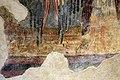 San lorenzo in insula, cripta di epifanio, affreschi di scuola benedettina, 824-842 ca., madonna in trono bendicente e sei angeli con scettro e globo 05 ali e papaveri.jpg