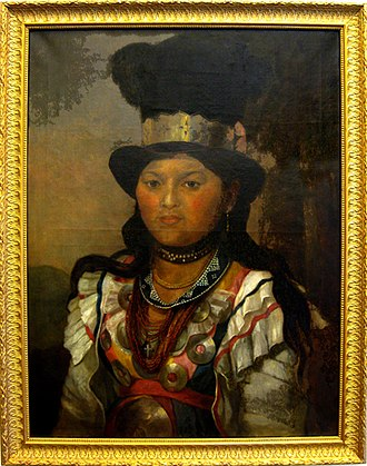 Penobscot - Portrait of Sarah Molasses, c.1886, daughter of John Neptune and Molly Molasses, collection of Peabody Museum of Archaeology and Ethnology